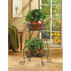 Black Wrought Iron and Wire Two-Tier Basket Plant Stand