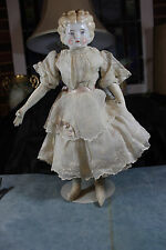 "ANTIQUE 18"" BLONDE BLUE EYE PORCELAIN 6 CHINA HEAD KID ARMS CLOTH BODY DOLL"