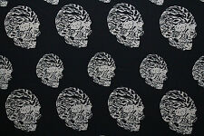 Alien Skulls Matt Satin Georgette Dress Fabric Material (Black/Cream)