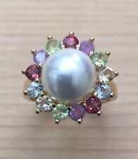 Gorgeous GENUINE MULTI GEM-STONE W/ Fresh Water Pearl RING #7 NEW