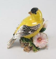 Yellow Bird Shaped Trinket Jewelry Box with Matching Pendant & Necklace