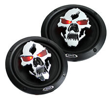 "2) NEW BOSS SK652 6.5"" 300W 2-Way Full Range Phantom Skull Car Audio Speakers"
