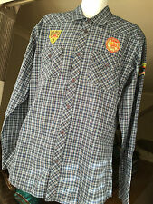 JOE BROWNS Mens XXL Blue/Red check shirt with badges Mid west Long Sleeved