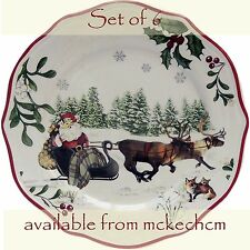 Set of 6 -Better Homes & Gardens Christmas Salad Plates- Santa Sledge Design