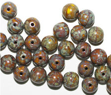 Blue Brown Picasso Round Czech Pressed Glass Beads 8mm (pack of 30)