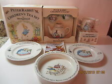 Vintage Wedgwood Peter Rabbit Children's Tea Set, Bowl, 2 Plates & Mug