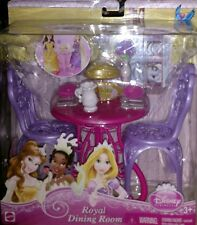 New Disney Princess Royal Dining Room Furniture Dollhouse Chairs Table Dishes ++