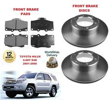 FOR TOYOTA HILUX 2.5 DT D4D 4X4 MODEL 2001-2005 NEW FRONT BRAKE DISCS SET + PADS