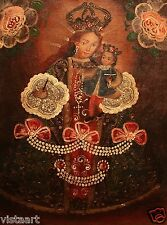 "Cuzco Religious Oil Painting Peruvian Folk Art 11x15"" Madonna & Child with Cross"