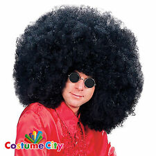 Adults Super Jimmy 1970s Black Oversized Disco Afro Wig Fancy Dress Accessory