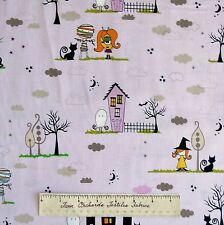 Halloween Fabric - Too Cute to Spook Main Purple Scene - Riley Blake Cotton YARD