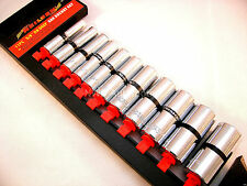 """3/8"""" Deep Imperial Socket Set, 11 Pieces, 5/16 - 7/8, With Rail, NEW UK STOCK"""