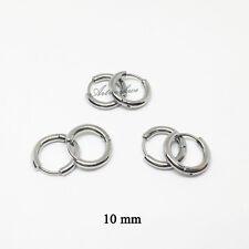 3Pairs Mens/Womens 3Colors Stainless Steel Tube Hoop Ear Ring Stud Earrings 10mm