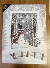 Snowman Trees Christmas Lighted Canvas Wall Decor Sign