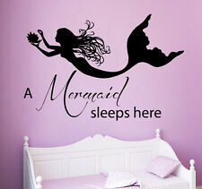 Wall Decal Quote Vinyl Sticker Mermaid Sleeps Here Girls Nursery Decor ART kk827
