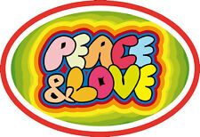 Peace And Love Over Rainbow with Peace Symbols - Small Bumper Sticker / Decal