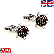 Cool Men's Women's Dress Animal Brown Turtle Cufflinks Novelty Design Cuff-links