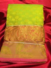 Kanchipuram Indian Pure Silk Saree Bollywood Bridal Wear Sari  Green Pink #13