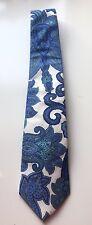 ETRO Milano 100% Cotton White & Blue Paisley Design Men's Neck Tie!!!