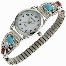 Turquoise Ladies Watch Bracelet Red Coral Accent