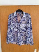Zara Bluse Top Gr. M 38 blau weiss Blumen Muster Blogger Studio Trend Porzellan