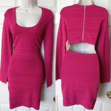 BEBE FUCHSIA PINK KAYLA LONG SLEEVE ZIPPER CUT OUT BANDAGE DRESS NEW MEDIUM M