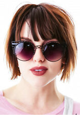 """FLEUR Sunglasses"" BLACK womens cat eye sexy celebrity metal caged retro classy"