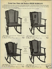1923 PAPER AD 2 Sided Cane Chair Solid Mahogany Rocking Rocker