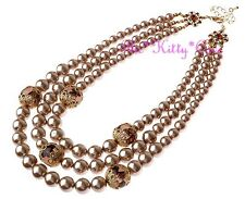 Vintage 1940s Chic Glamour Classic Soft Bronze Gold Pearl 3-Row Layered Necklace