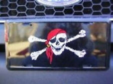 Jolly Roger Red Hat Pirate Black License Plate Tag