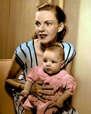 "JUDY GARLAND BABY LIZA MINNELLI 1946 ACTORS 8x10"" HAND COLOR TINTED PHOTOGRAPH"