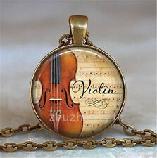 Vintage Violin Glass Bronze necklace for women men Jewelry