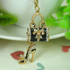 Black Color Crystal Diamante Handbag High Heel Shoe Bag Purse Charm Keyring Chic