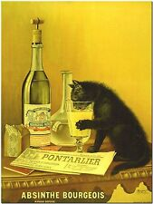 """Vintage Alcohol Ad- Cat Absinthe Bourgeois Canvas Print Poster 16X12"""""""