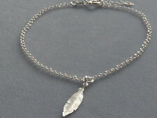 "ITALIAN STERLING SILVER ANKLE BRACELET-adj 9""to10""-ROLO LINK w/FEATHER-ITALY 925"