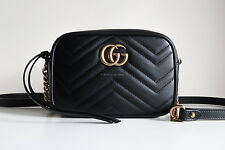 BN GUCCI 'gg marmont camera mini quilted leather shoulder bag' black chain gold