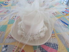 Western Ladies Felt Wedding Bridal  Hat with Veil and Pearls & Floral Decor