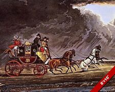 VINTAGE HORSE DRAWN MAIL COACH IN THUNDERSTORM PAINTING ART REAL CANVAS PRINT