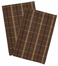 Tan, Brown and Black Plaid Tanner Dishtowels by Park Designs, 18x28, Set of Two