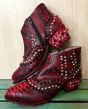 NIB  Free People red black Snakeskin Print Western Jewel Ankle Boots 37/ 6.5-7