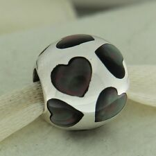 Authentic Pandora 790398MPB Love Me Black Mother of Pearl Sterling Bead Charm