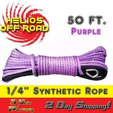 """1/4"""" x 50' Purple Synthetic Winch Line Cable Rope 7000+ LB with Sheath (ATV UTV)"""
