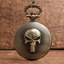 Cool Bronze The Punisher Black Skull Roman Numerals Dial Pocket Watch Men's Gift