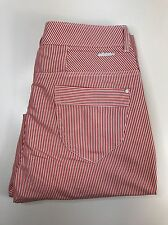 BNWT LADIES ADIDAS NEO RED WHITE STRIPE DENIM CHINO CROP PANTS TROUSERS UK 12 30