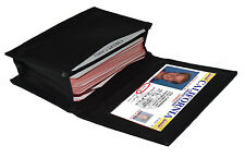 Black Mens leather ID credit business Card Thin Wallet Expandable Case Holder