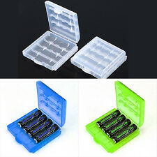 6 Pcs Hard Plastic Blue/Green/White Holder AA/AAA Battery Storage Box Case SR1G