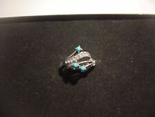 STUNNING RING-THICK SOLID SILVER& REAL TURQOISE & SPARKLY STONES SIZE O-VINTAGE