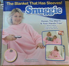 Snuggie Soft Fleece Blanket with Sleeves & Pockets Cotton Candy Pink NEW NIB