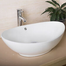 Oval White Modern Bathroom Ceramic Vessel Sink Bowl w/Chrome Faucet Basin Combo