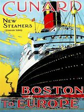 TRAVEL BOSTON EUROPE SHIP LINER STEAMER OCEAN SEA BOAT USA PRINT LV4355